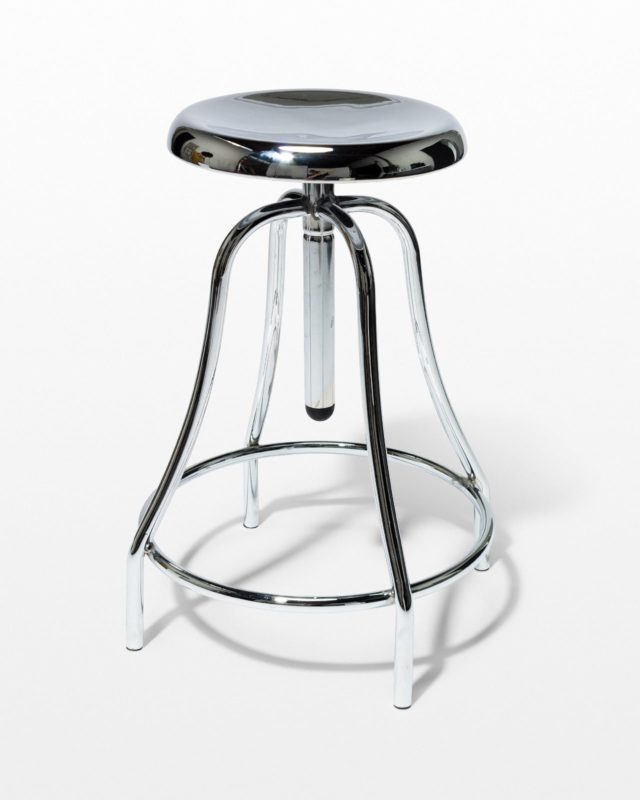 Front view of Coach Chrome Adjustable Stool