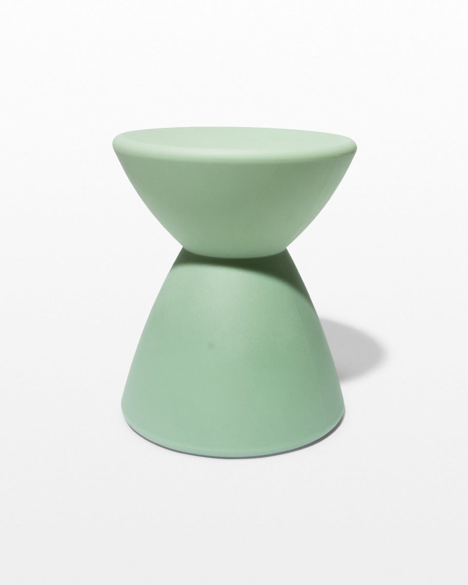 Front view of Sage Green Hourglass Table Stool