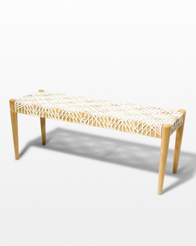 Front view of Mandy Woven Leather Bench