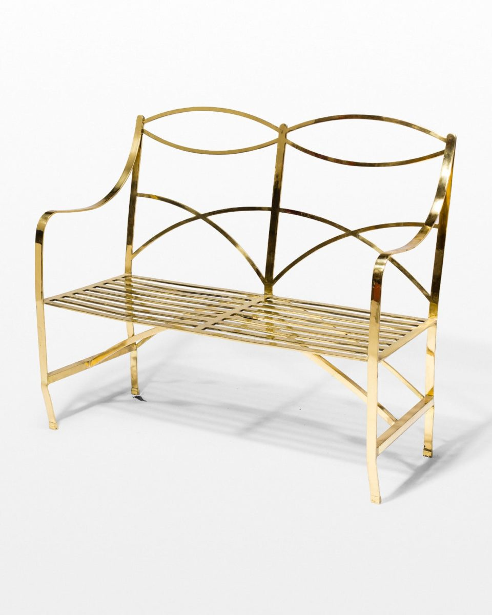 Front view of Barb Brass Metal Bench