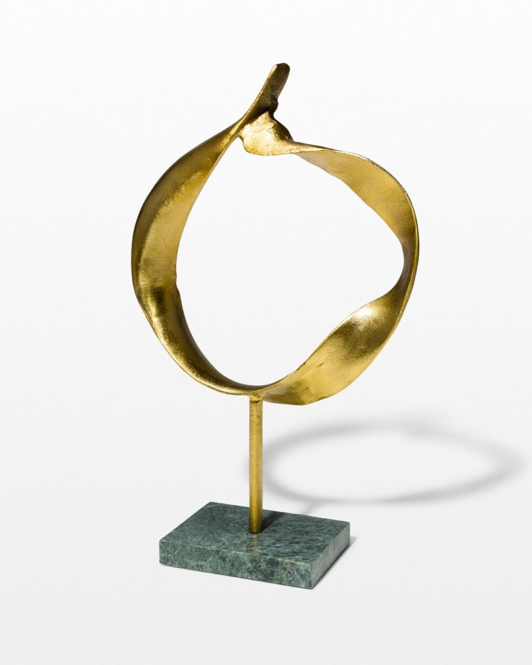 Front view of Gold and Marble Ring Sculpture