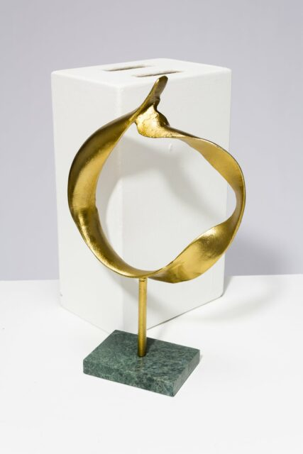 Alternate view 1 of Gold and Marble Ring Sculpture