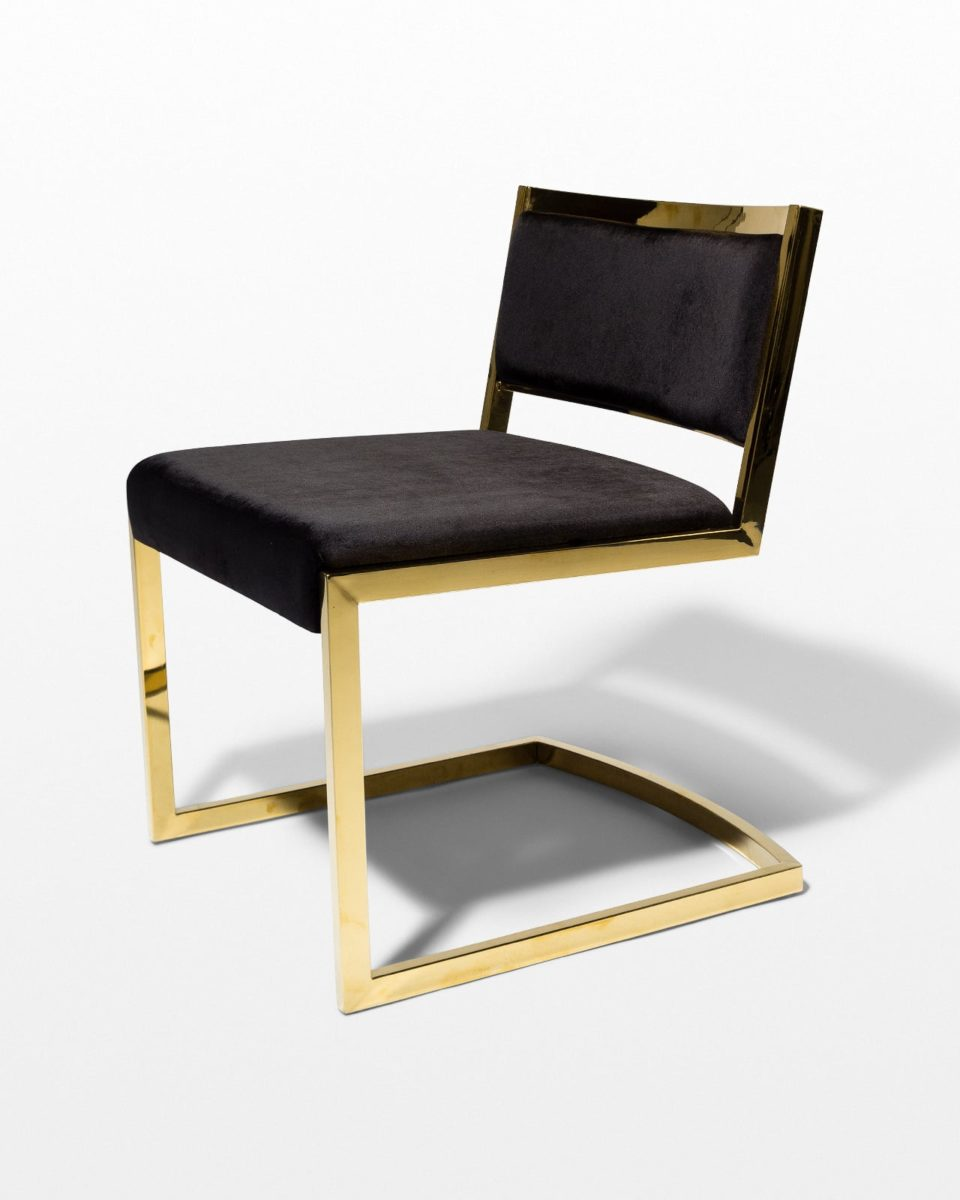 Front view of Andy Gold and Black Velvet Chair