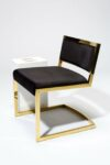 Alternate view thumbnail 3 of Andy Gold and Black Velvet Chair