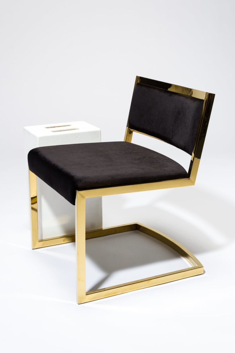 Alternate view 3 of Andy Gold and Black Velvet Chair