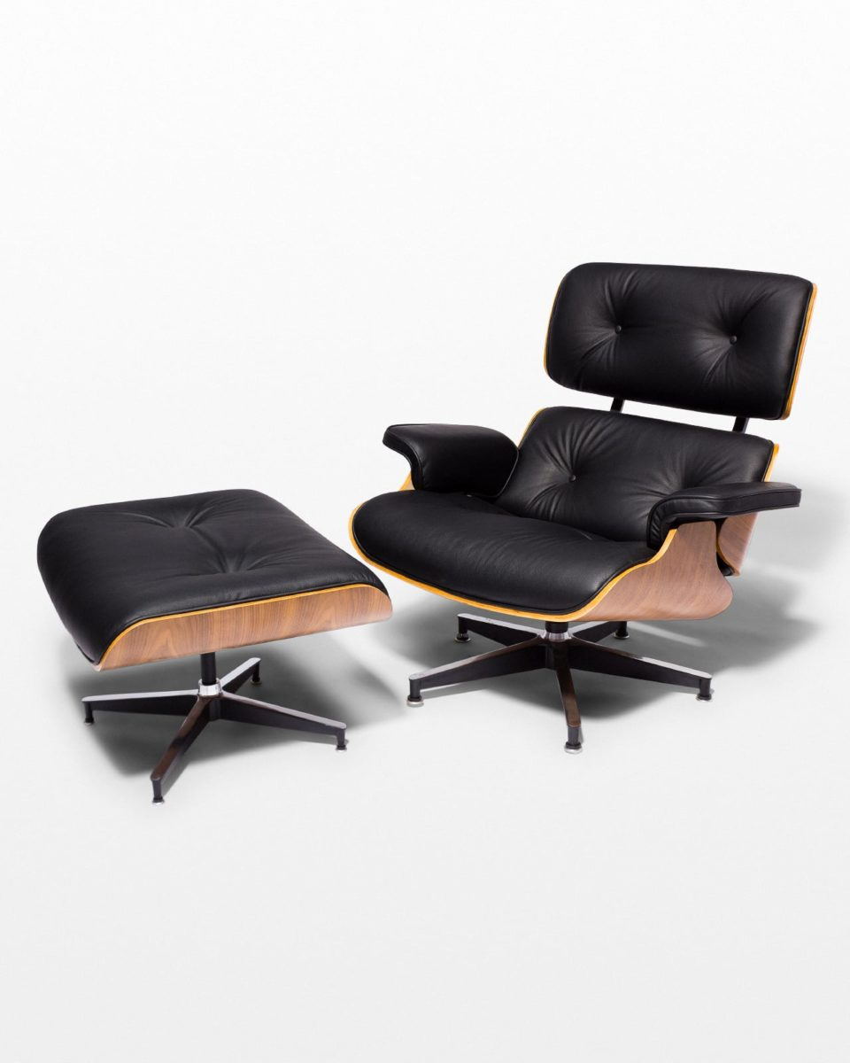 Front view of Black Eames-Style Lounge Chair and Ottoman