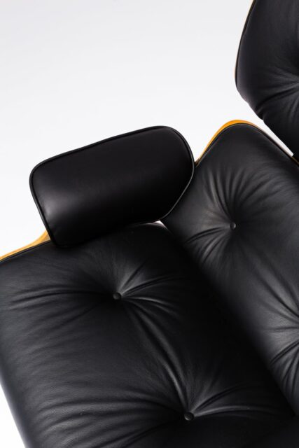 Alternate view 1 of Black Eames-Style Lounge Chair and Ottoman