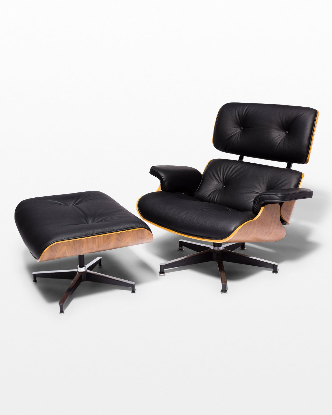 Astonishing Ch587 Black Eames Style Lounge Chair And Ottoman Prop Rental Short Links Chair Design For Home Short Linksinfo