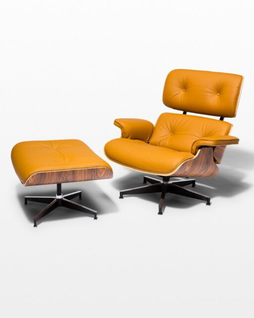 Front view of Brown Eames-Style Lounge Chair and Ottoman