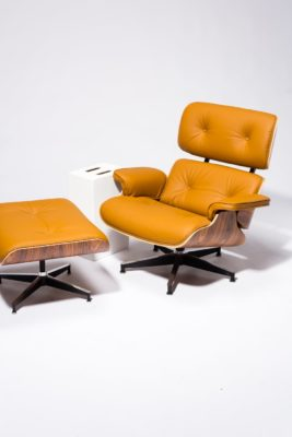 Alternate view 3 of Brown Eames-Style Lounge Chair and Ottoman
