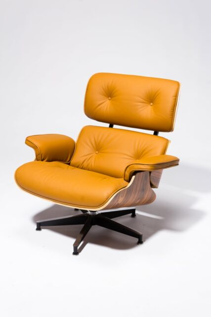 Alternate view 4 of Brown Eames-Style Lounge Chair and Ottoman