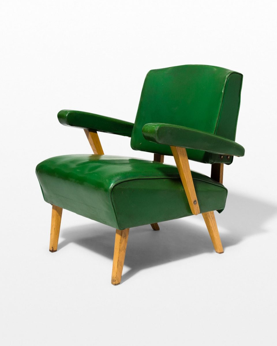Front view of Rory Green Vinyl Armchair