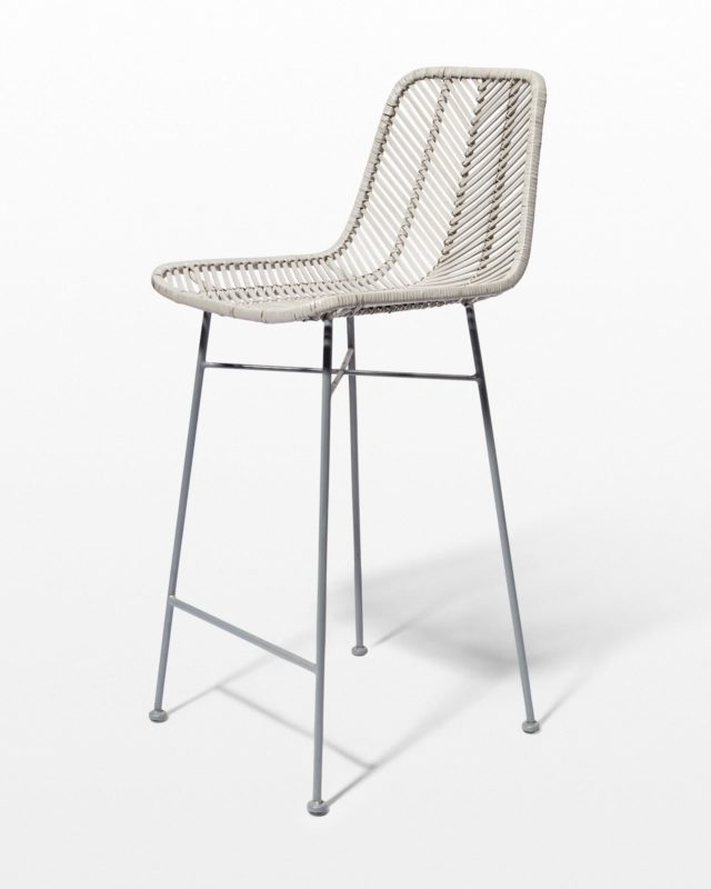 Front view of Lucas Grey Rattan Stool
