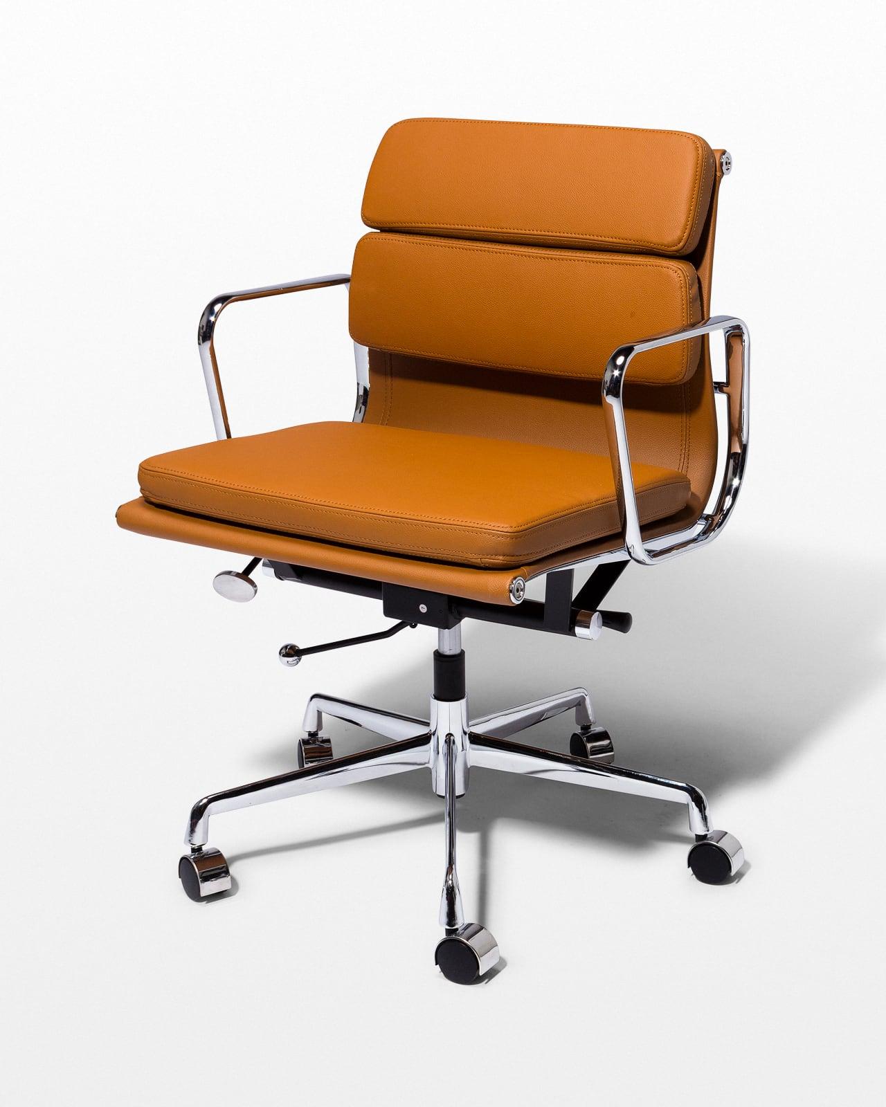 Merveilleux Front View Of Halpert Brown Leather Rolling Desk Chair ...