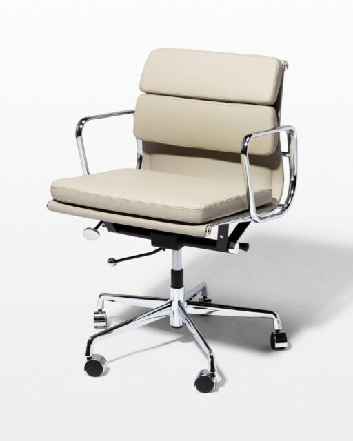Front view of Madison Grey Leather Rolling Desk Chair