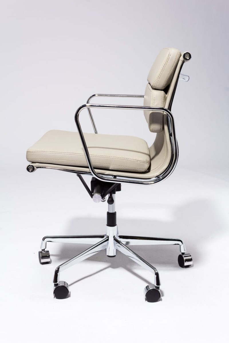 Ch613 Madison Grey Leather Rolling Desk Chair Prop Rental