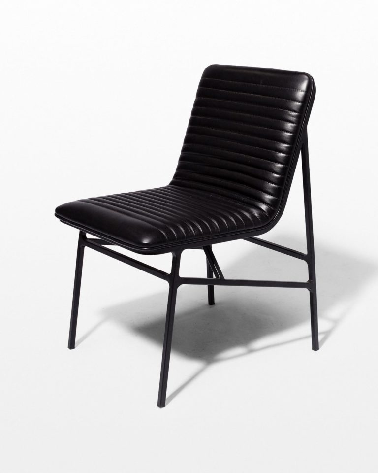 Front view of Ace Black Ribbed Leather Chair