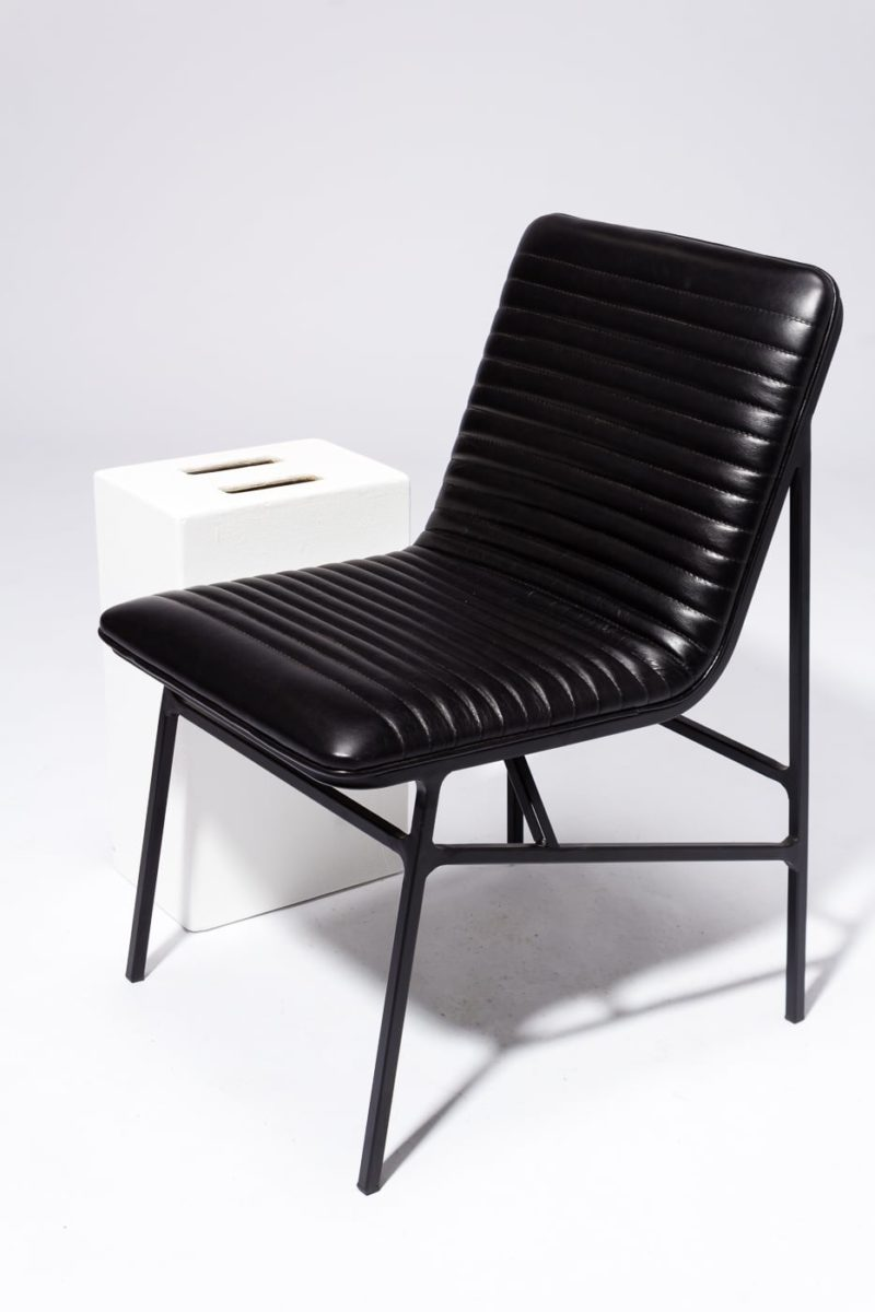 Alternate view 2 of Ace Black Ribbed Leather Chair