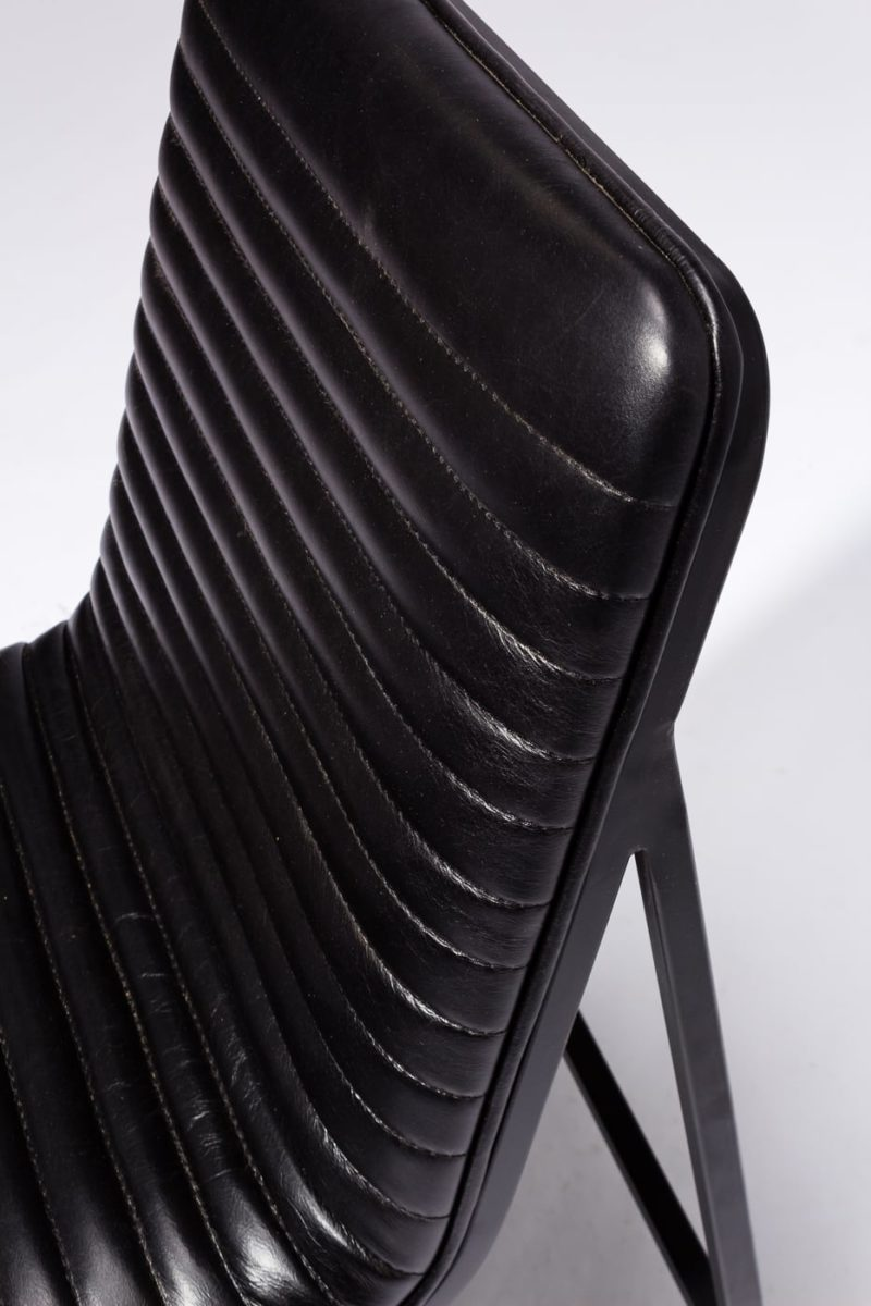 Alternate view 1 of Ace Black Ribbed Leather Chair