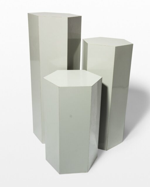 Front view of Chase Grey Laminate Pedestal Set