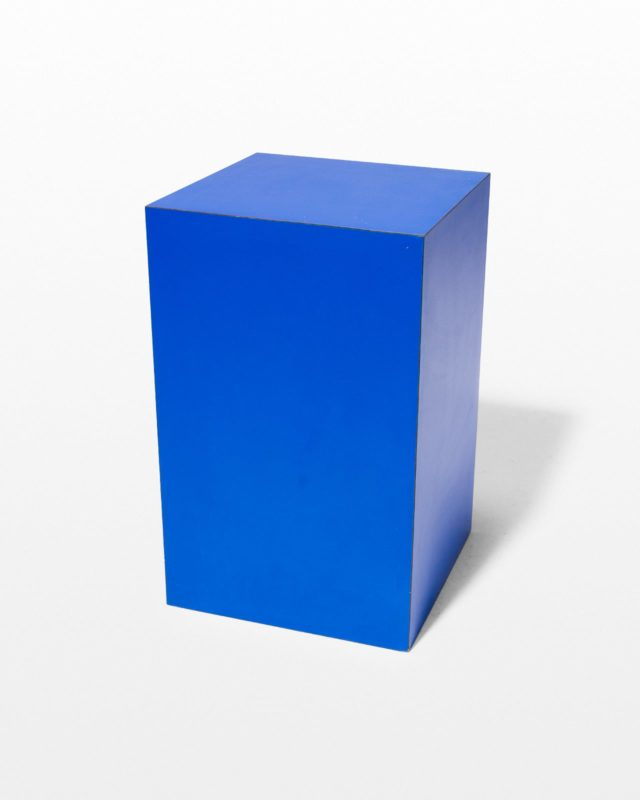 Front view of Primary Blue Laminate Pedestal Table