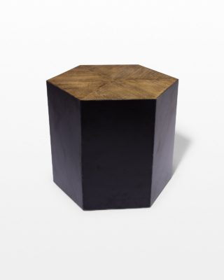 Front view of Rex Iron Hexagon Table with Oak Top