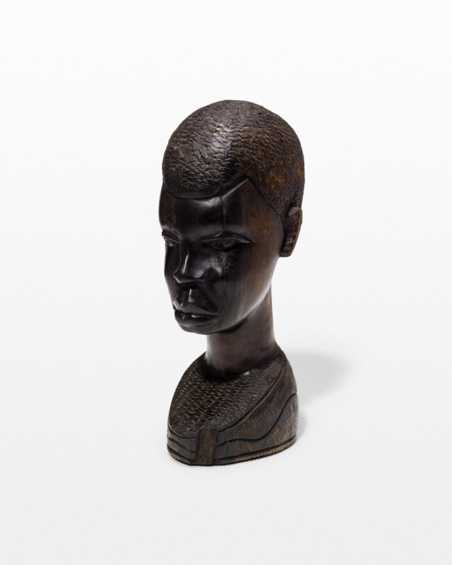 Front view of Ebony Carved Wooden Bust