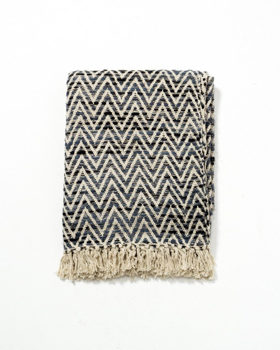 Front view of Blue Zag Fringe Throw