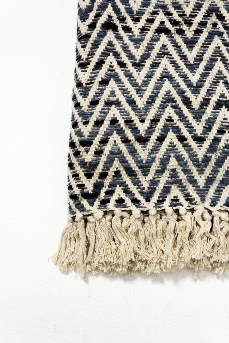 Alternate view 2 of Blue Zag Fringe Throw