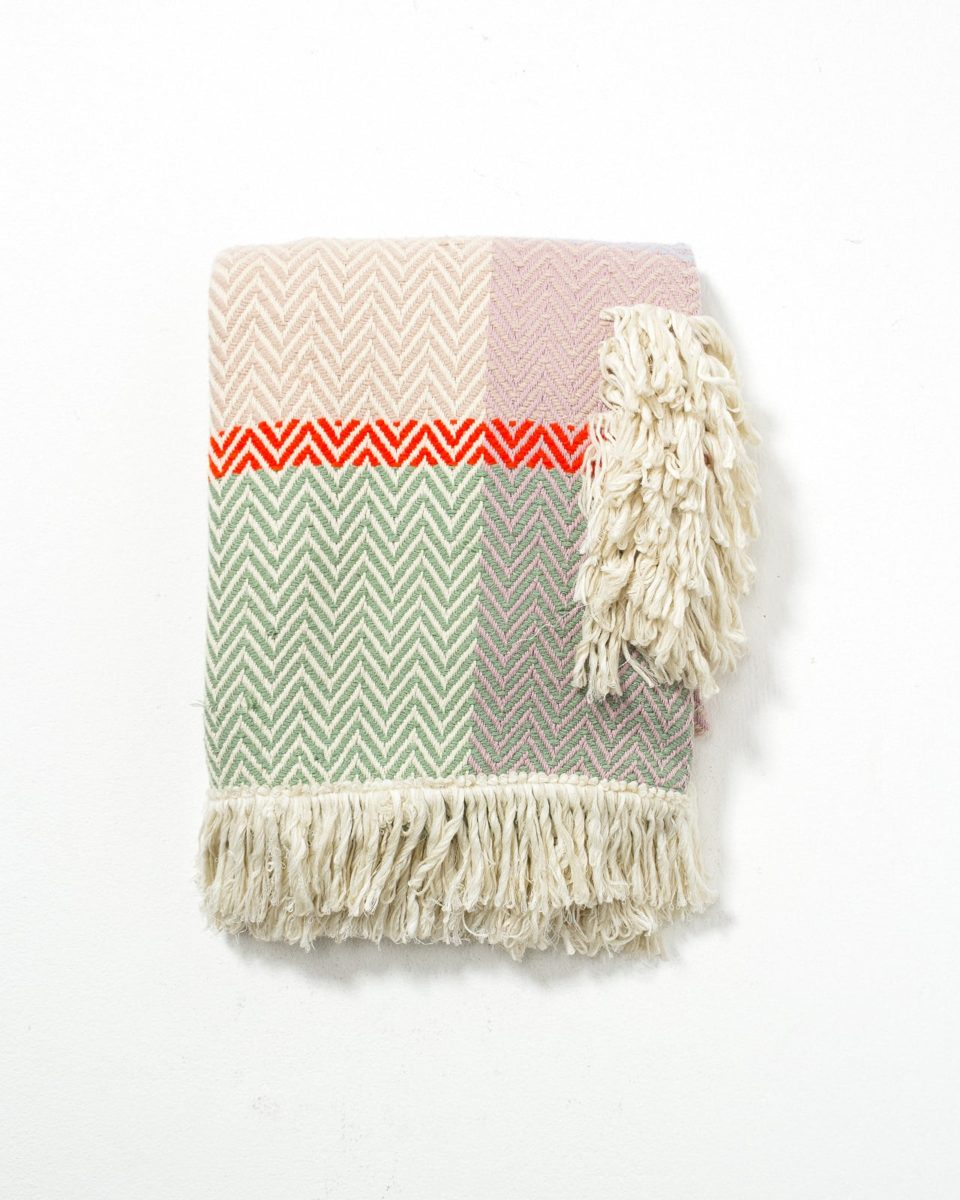 Front view of Francis Fringed Pastel Throw