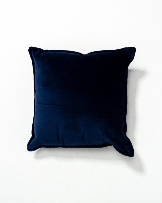 Front view of Lincoln Navy Blue Velvet Pillow