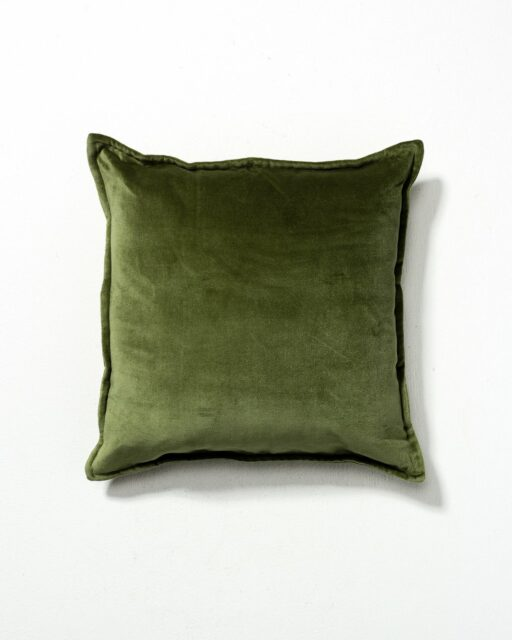 Front view of Hood Moss Green Velvet Pillow