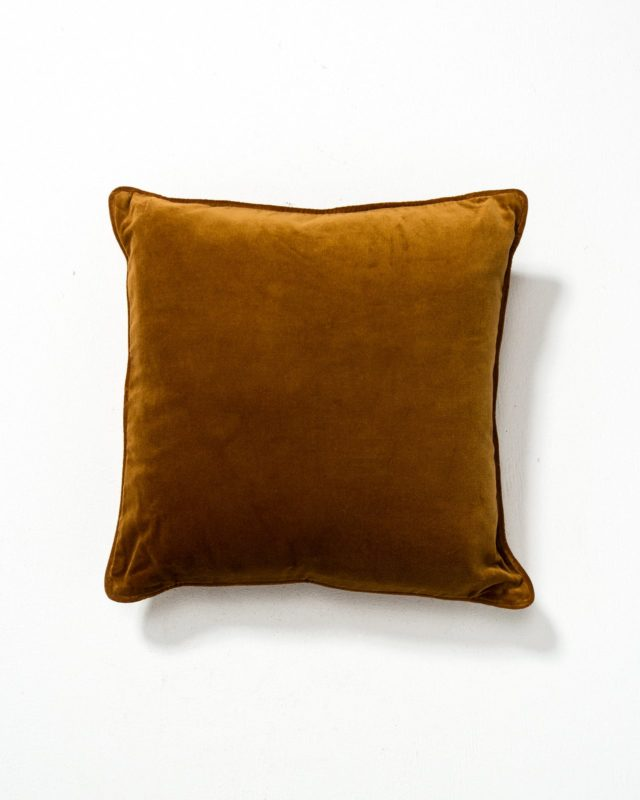 Front view of Lolo Rust Velvet Pillow