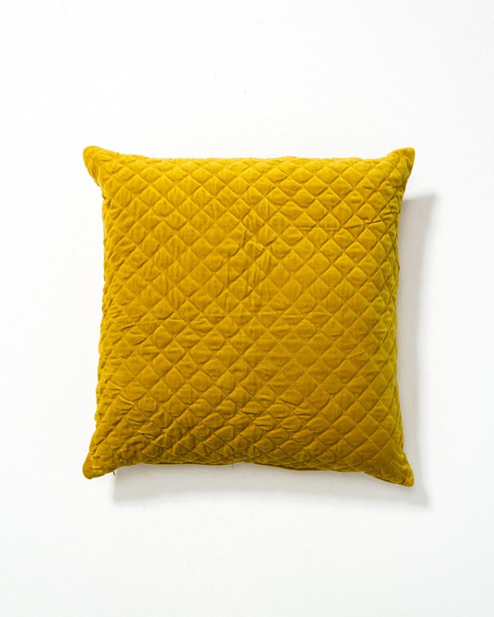Front view of Carson Mustard Yellow Velvet Pillow
