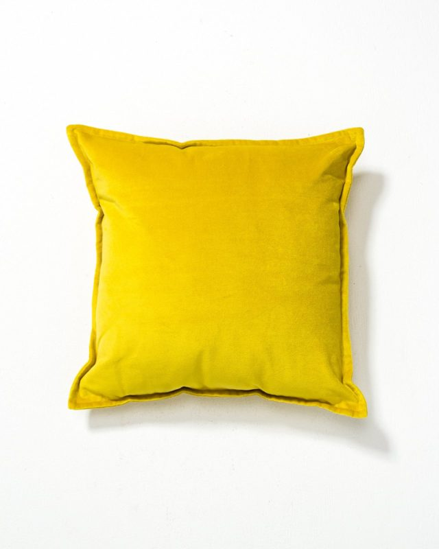 Front view of Colt Canary Yellow Velvet Pillow