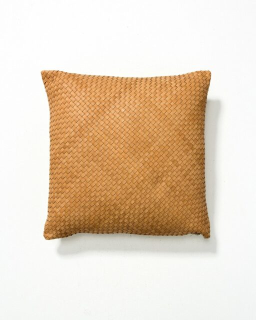 Front view of Cristo Leather Woven Pillow