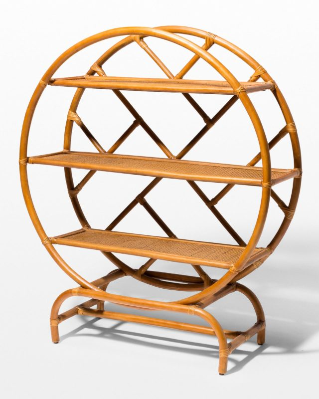 Front view of Bambi Rattan Circle Shelf