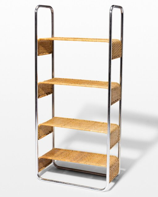 Front view of Amy Chrome and Rattan Bookshelf