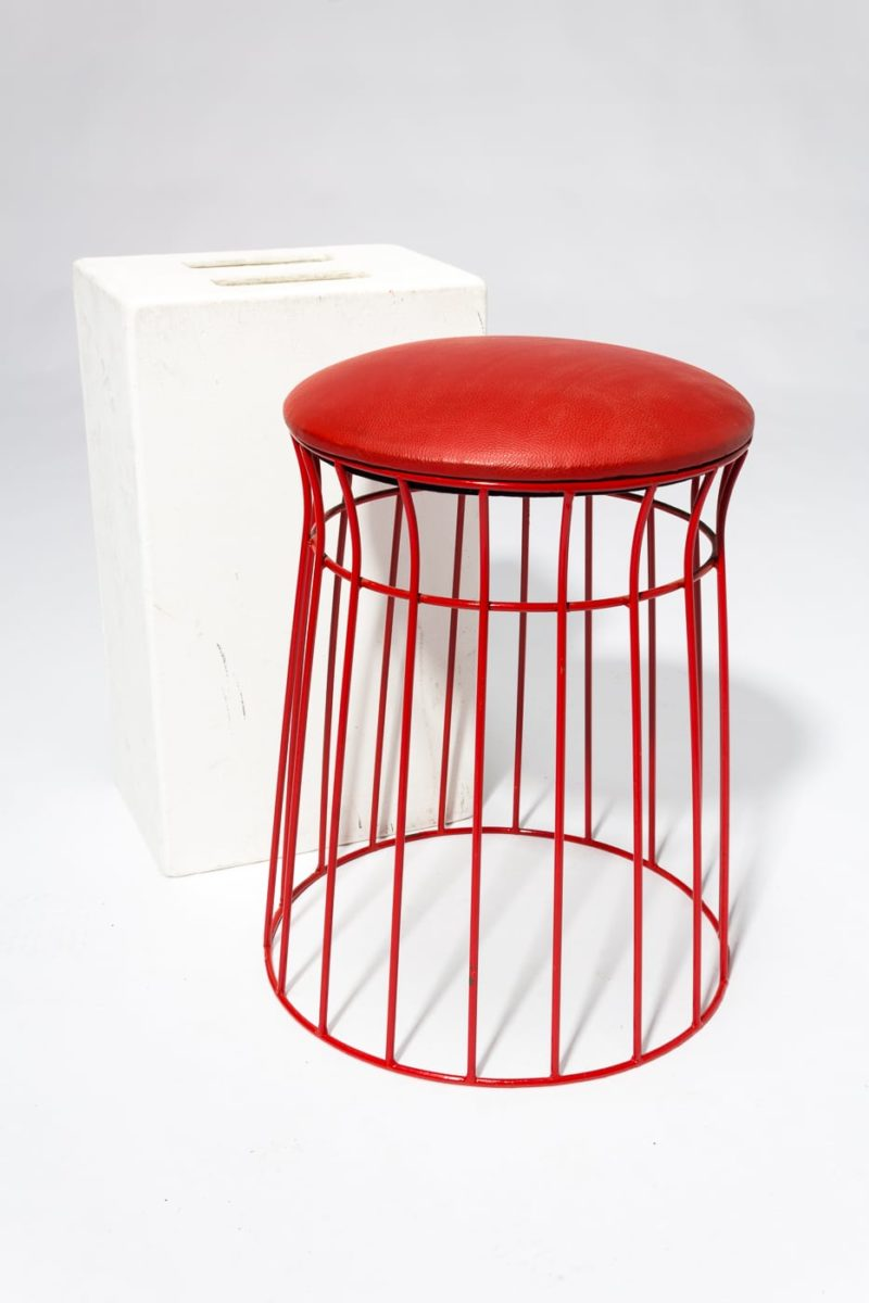 Alternate view 2 of Cherry Wire Frame Stool