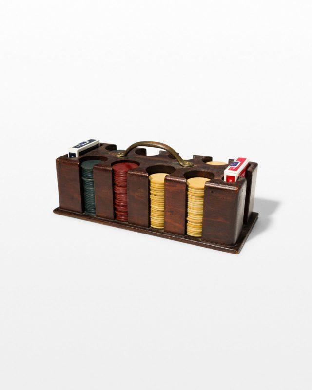Front view of Legacy Wooden Poker Set