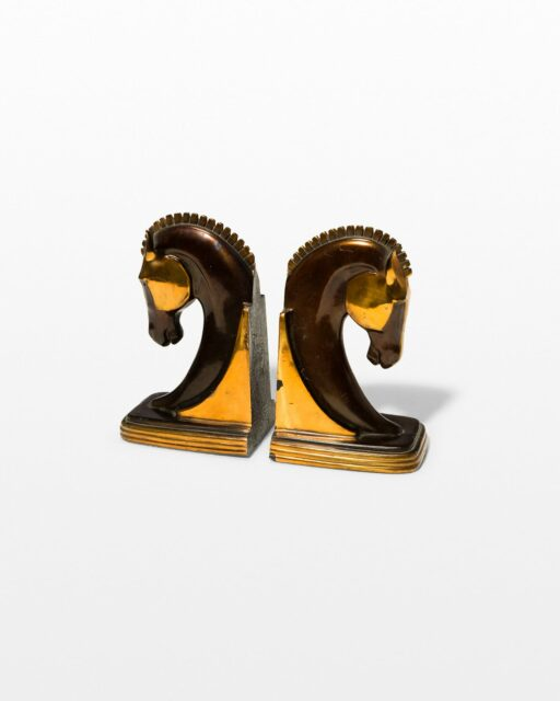 Front view of Bronze Horse Bookend Objects