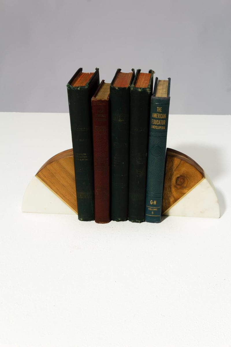Alternate view 2 of Crescent Marble and Wood Bookends