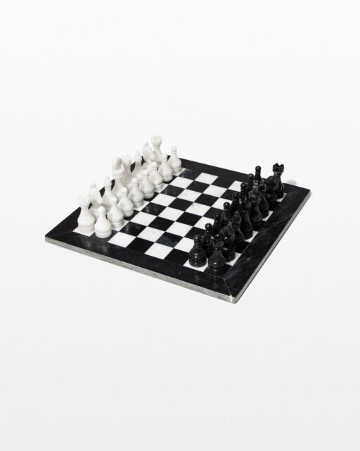 Front view of Knight Marble Chess Set