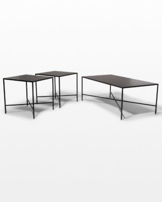 Front view of Ralph Iron Coffee Table and Side Tables Set