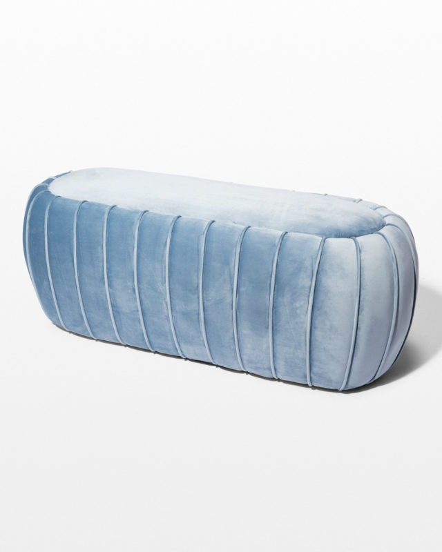 Front view of Sky Velvet Ottoman Bench