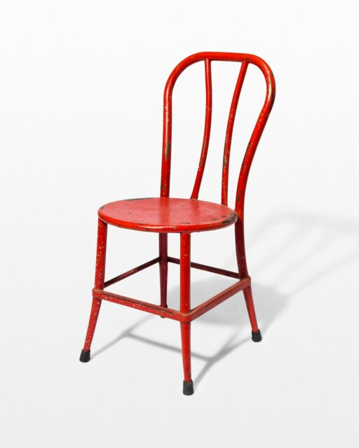 Front view of South Distressed Red Metal Chair