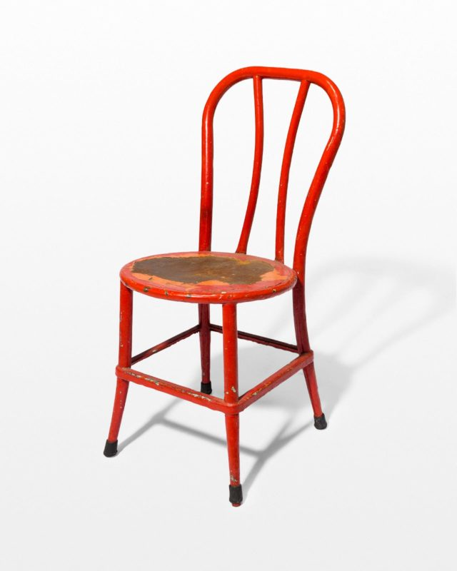 Front view of North Distressed Red Metal Chair