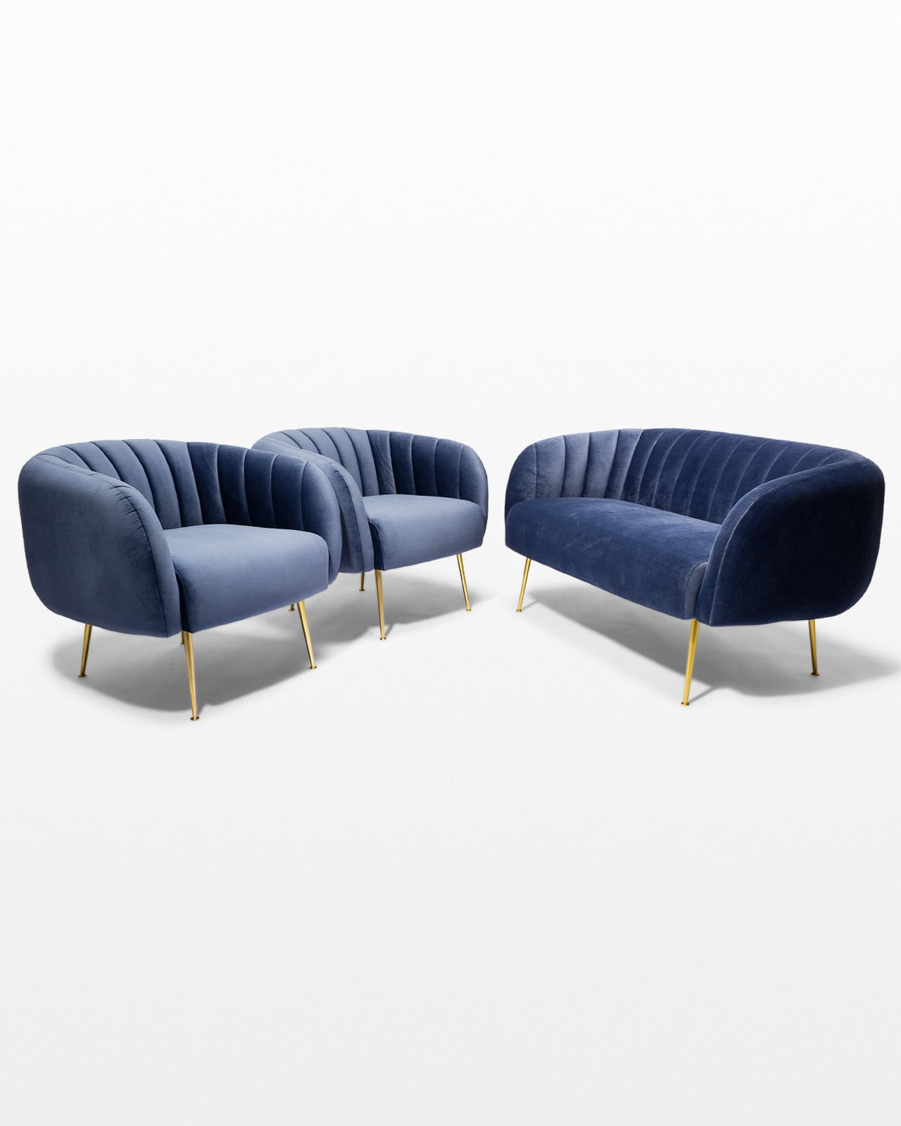 Co066 S Lucille Velvet Sofa And Armchairs Set Prop Rental Acme