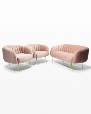 Front view of Louise Rose Gold Velvet Loveseat and Armchairs Set