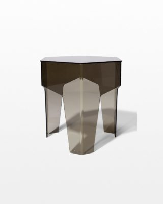 Front view of Smoke Hexagon Acrylic Side Table